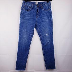 J crew Womens broken in Boyfriend jeans Raw hem